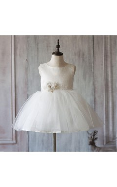 2016 Off White Scoop Neck a Line Knee Length Puffy Flower Girl Dress