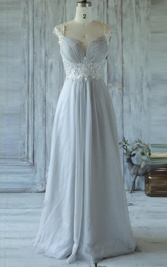 Floor-length Sweetheart Cap Sleeve Chiffon&Tulle Dress With Beading