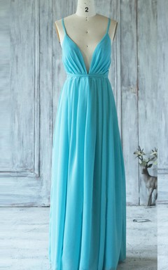 Floor-length Spaghetti Strapped V-neck Backless Chiffon Dress