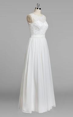 Jewel Neck Sleeveless A-Line Chiffon Skirt Lace Bodice Wedding Dress