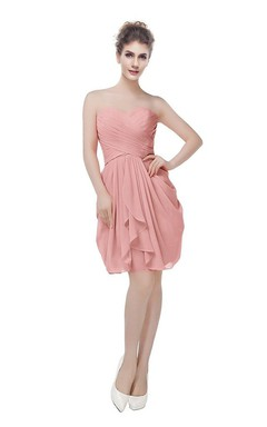 Sweetheart Short Chiffon Dress With Criss-cross Ruching