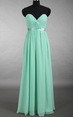 A-line Floor-length Sweetheart Chiffon Dress