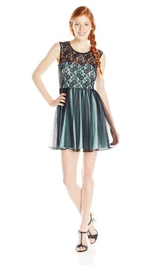 Sleeveless A-line Dress With Illusion Lace and Keyhole