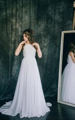 A-Line Short Sleeveless Sleeve Chiffon Lace Satin Dress
