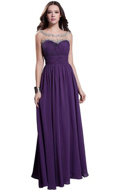 Sleeveless A-line Chiffon Gown With Illusion Neckline