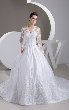 Scalloped-Neck Long-Sleeve Beaded Ball Gown with Illusion