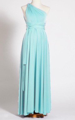 Long One-shoulder Jersey&Satin Dress