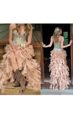Sweetheart Ruffled Long Organza Dress with Sequins