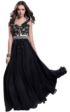 Sleeveless V-neck Appliqued Long Chiffon Gown