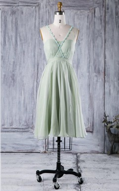 A-line Short Knee-length Strapped Sweetheart Chiffon&Tulle Dress With Beading&Flower