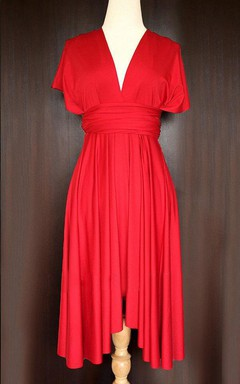 Red Bridesmaid Convertible Wrap Dress