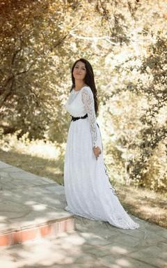 Long Sleeve Lace Jersey Weddig Dress