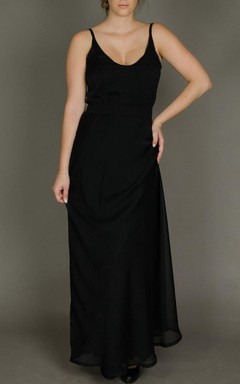 Long Sleeveless Sleeve Chiffon Dress