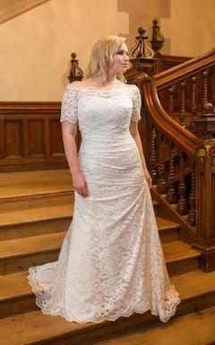 Sheath Long Off-The-Shoulder Short Sleeve Lace Corset Back  Dress