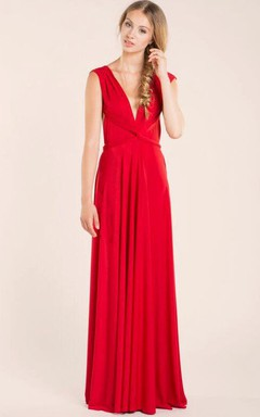Red Elegant Infinity Jersey Long Dress