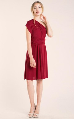 Short Knee-length Jersey and Satin Dress