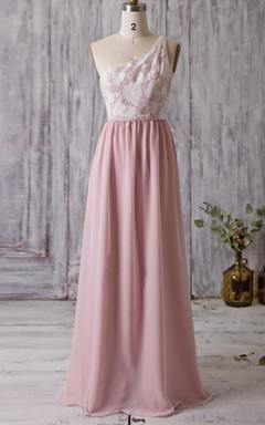 Long One-shoulder Chiffon&Lace Dress With Flower