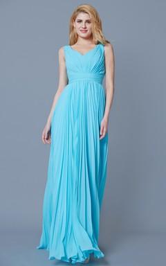 Empire Pleated Long Bridesmaid Dress