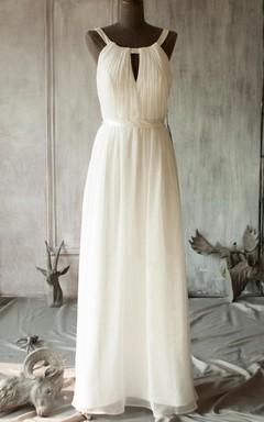 Tea-length V-neck Chiffon Dress