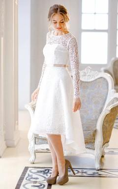 Short Mini Knee-Length Satin Lace Lace-Up Corset Back Wedding Dress