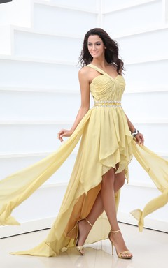 Ethereal Asymmetrical One-Shoulder High-Low Dress With Ruching And Ruffle