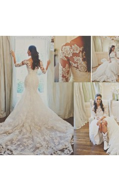 Elegant 3/4-long-sleeve Illusion Tulle Wedding Dress Lace Appliques