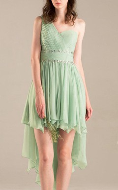 One-shoulder Chiffon Dress With Beading