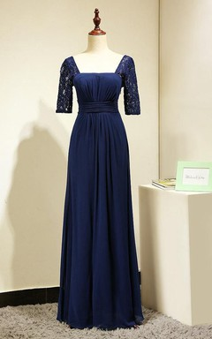 Elegant Lace Short Sleeves Formal Gown