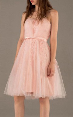 A-line Short Knee-length Strapped Backless Tulle Dress
