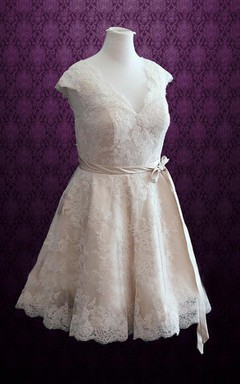 V-Neck Cap Sleeve Lace Dress With Sash And Bow