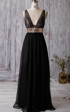 Maxi V-neck Backless Chiffon Dress With Sequins