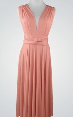 Convertible Sleeveless Chiffon V-Neck Dress With Pleats
