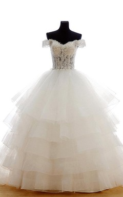 Victorian Inspired Off-Shoulder Tulle Ball Gown With Beaded Bodice