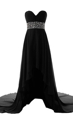 Sweetheart Empire High-low Chiffon Dress With Sequins