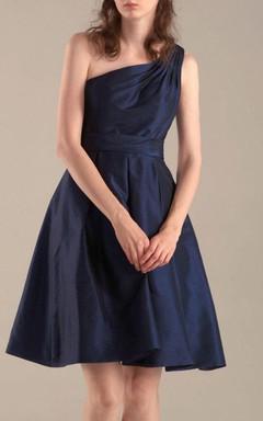 A-line Mini Knee-length One-shoulder Chiffon&Taffeta Dress