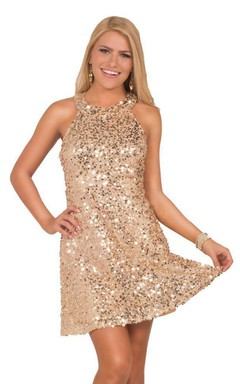 High-neck Short Sequined Dress With Keyhole