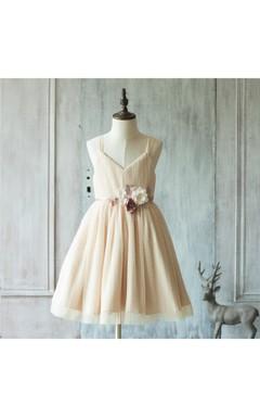 2016 Beige Spaghetti Strap V Neck a Line Knee Length Tulle Girl Wedding Dress