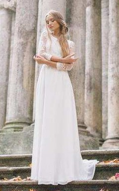 Scoop-Neck Lace Long Sleeve Chiffon Wedding Dress With Illusion