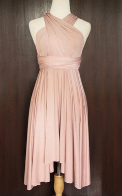 Nude Pink Convertible Twist Wrap Jersey Dress