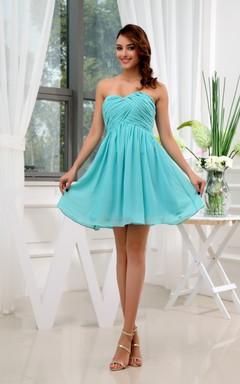 Sweetheart Chiffon Short Dress With Criss-Cross Ruching