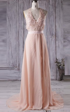 Long Halter V-neck Backless Chiffon&Lace Dress With Beading