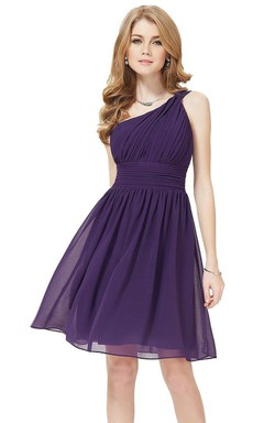 One-shoulder A-line Knee-length Dress With Pleats