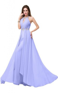 Halter Notched Crystal-beaded A-line Gown With Split Front