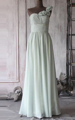 A-line Long One-shoulder Backless Chiffon Dress
