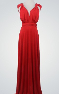 V-Neck Chiffon Maxi Dress With Straps