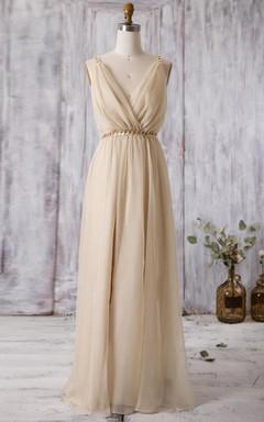 Floor-length V-neck Backless Chiffon Dress