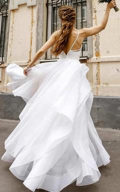 Flowy Spaghetti Layered Wedding Dress With Lace Top