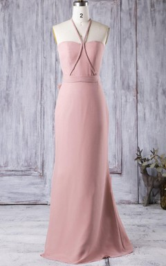 Sheath Floor-length Halter Sweetheart Chiffon Dress With Bow