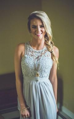 Modern Lace Illusion A-line Prom Dress 2016 Chiffon Zipper Floor-length