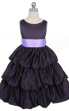 Sleeveless A-line Taffeta Dress With Ruffles
